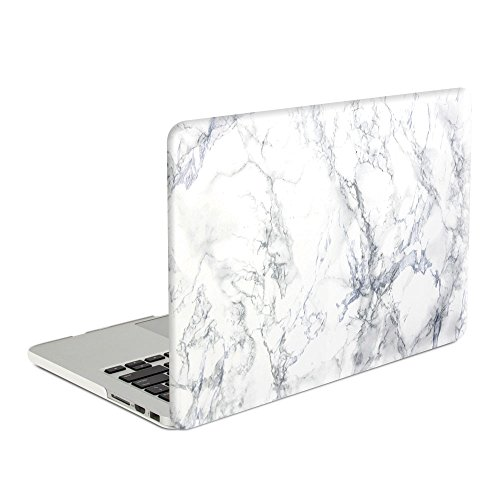 Rinbers-Hard-Shell-Case-Print-Frosted-with-Keyboard-Cover-and-Screen-Protector-for-MacBook-Pro-154-Inch-with-Retina-Display-NO-CD-ROM-A1398-White-Marble-Rubber-Coated-Cover