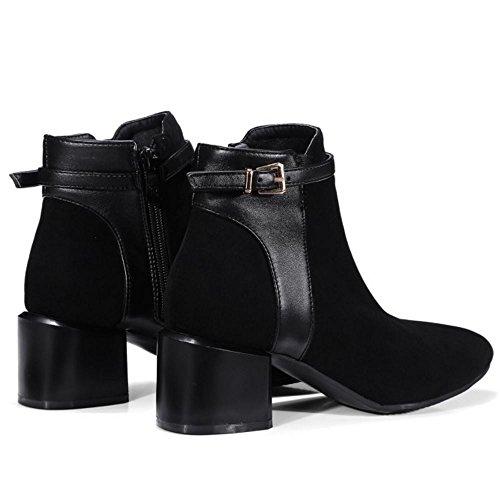 TAOFFEN Block Black Women Booties Ankle Winter Comfort 224 Shoes High Autumn Heel wwUrqS1E