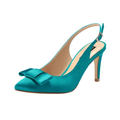 ERIJUNOR E2415 Pointy Toe Pumps Mid Heels Wedding Evening Party Prom Slingback Satin Shoes Teal Size 9