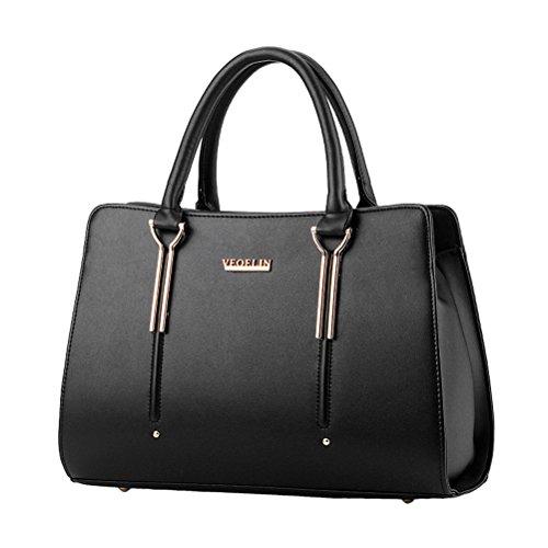 Womens Pure Color Pu Leather Boutique Tote Bags Top Handle (Boutique Purse Bag)