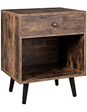 VASAGLE Nightstand, End Table with Drawer, Open Compartment, Pinewood Legs, Rustic Brown ULET71BX