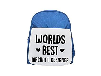 Mochila de diseño de avión con el mejor mundo impreso en azul para niños, mochilas bonitas, ...