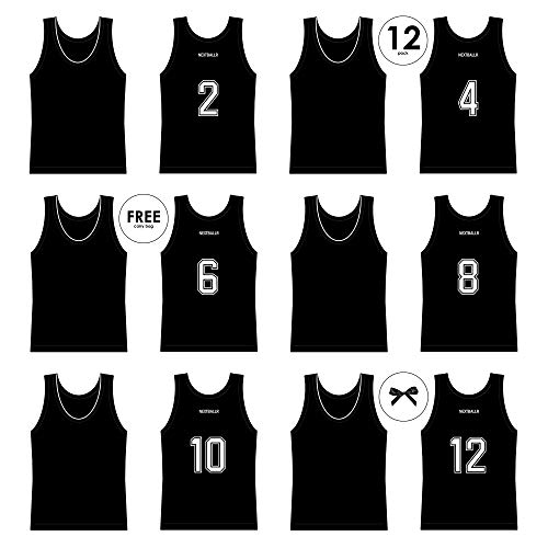 NEXTBALLR Basketball Practice Jerseys - Football Scrimmage Vests - Soccer Training Pinnies - for Adults Sports Youth - Men Women Teen - with Numbers on Back - Mesh Numbered Bibs - Black Large 12 Pack