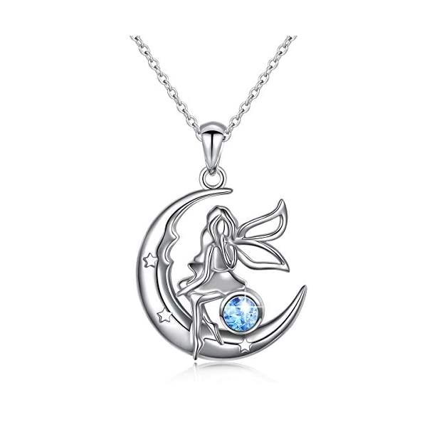 Ladytree S925 Sterling Silver Angel Baby Fairy Moon Jewelry Pendant Necklace For Women Princess Gifts18 Inches