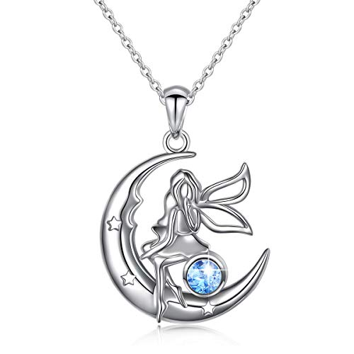 (Ladytree S925 Sterling Silver Angel Fairy Necklace Moon Jewelry Pendant Jewelry Gifts for Girls Women Princess,18