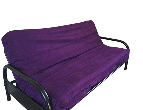 OctoRose Full Size Elastic Around on Backing Bonded Micro Suede Easy Fit Fitted Futon Cover Sofa Mattress Slipcovers (Purple)