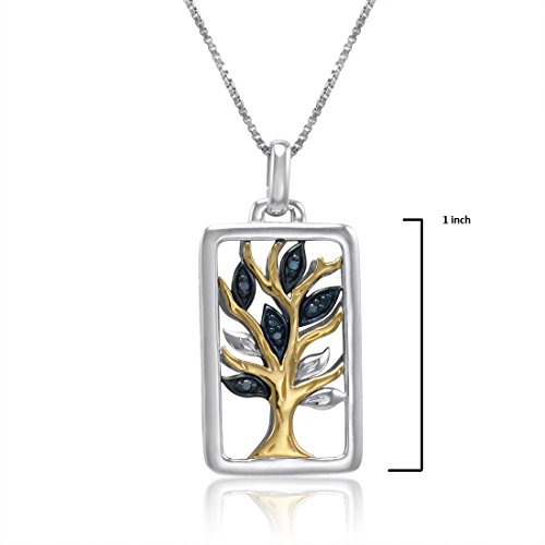 en argent sterling et 14K Or jaune diamants Pendentif arbre de vie Collier
