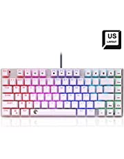 HUO JI Tenkeyless Mechanical Gaming Keyboard Red Switches RGB Backlit Smooth Linear Compact Design 81 Keys Anti-Ghosting for Gamers and Typists Z-88 (White)