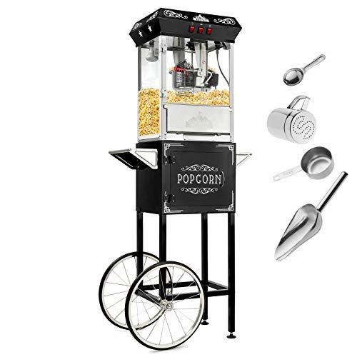 - Olde Midway Vintage Style Popcorn Machine Maker Popper with Cart and 10-Ounce Kettle - Black