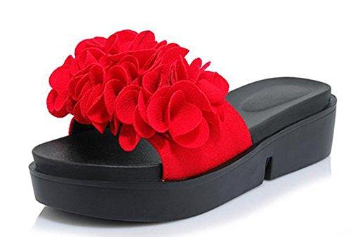 Easemax Kvinna Trendig Blommor Kil Mule Sandaler Rött