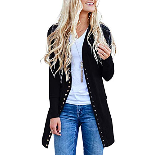 Ru Sweet Womens Knit Ribbed Neckline Cardigan Long Sleeve Snap Button Down Solid Color Cardigan Sweater
