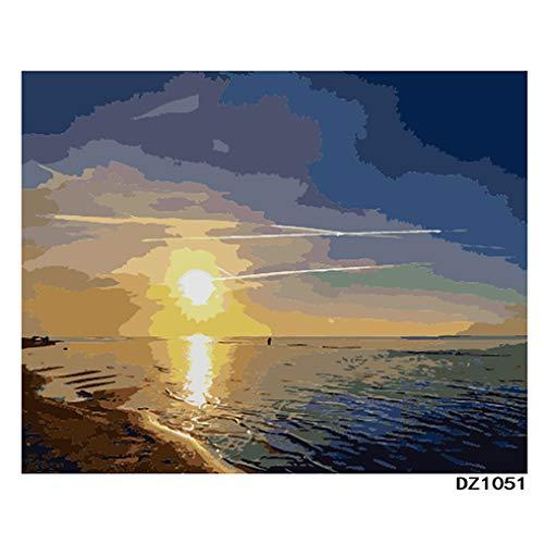 LovetheFamily 数字油絵 数字キット塗り絵 手塗り DIY絵 デジタル油絵 ホーム オフィス装飾 40x50cm 海上の落日の商品画像
