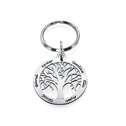 Personalized Family Tree Keychain in Sterling Silver - Custom Made with Any Name ()