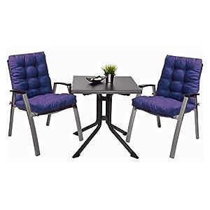 Pack 2 Cojines con Respaldo de Silla Jardin Conjunto Cojin de Asiento para Interior y Exterior Cómodo. Cojines para sillas Comedor, mecedoras, bancosterraza (Azul)