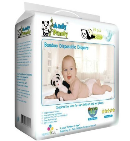 Andy Pandy Premium Bamboo Disposable Diapers, X-Large, 62 - 62% Contains Alcohol