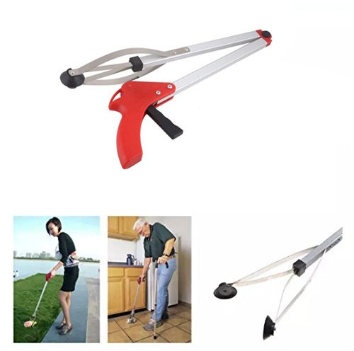 2 Pack Red Reacher Grabber, 32'' Extra Long Foldable Reacher Handy Reaching Aid Lightweight Aluminum Grab Arm Extender Tools for Trash Pick Up, Garden Nabber, Mobility Aid Pick Up Tool