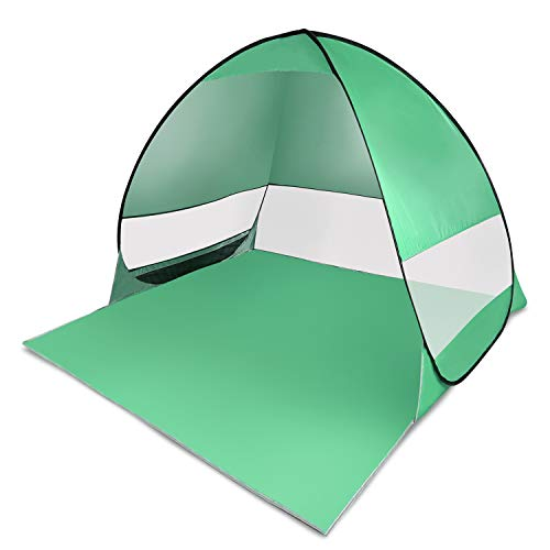 Beach Tent Sun Shelter UV Protection Easy Set Up Portable Kids Beach Shade for 2-3 Person Travel Camping Green