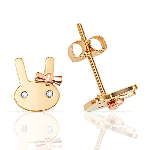 Adorable 14K Yellow Gold Bunny With 14K Rose Gold Bow and CZ Eyes Stud Earrings ()