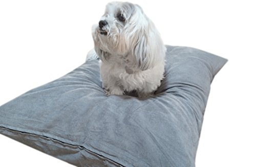 DIY Do It Yourself Luxurious Soft Comfort Durable Gray Micro Suede Pet Bed Dog Pillow Cover + Internal Inner Liner Waterproof Resistant Case Set for Small Medium Dogs - COVERS ONLY Flat Style (Gray Microsuede, 36''x29'')