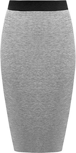 WearAll Grande taille jupe lastiqu longueur genou - Jupes - Femmes - Tailles 44  54 Gris Fonce