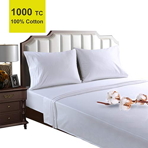 EMONIA True Luxury 100% Egyptian Cotton High 1000 Thread Count Queen Size Sheets Set 4 Pieces Bed Sheet Sateen Weave 12