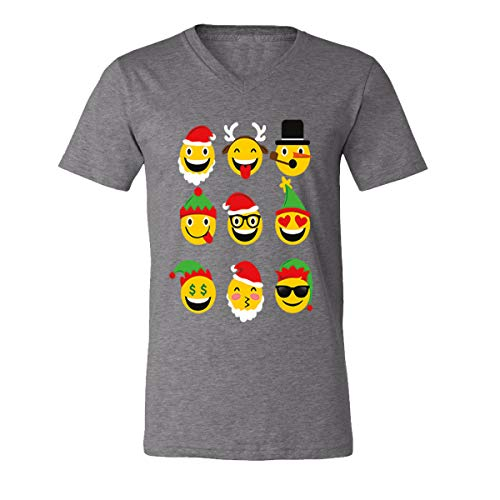 (Christmas Animated Emoji Faces V-Neck T-Shirts for Men(Deep)