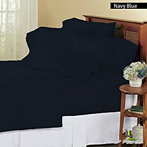 """6 Piece Sheet Set 14"""" Deep Pocket Solid Pattern 100% Egyptian Cotton 500 Thread Count ( Twin , Navy Blue ) ."""