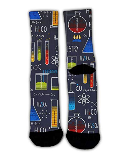 YEAHSPACE Mens Chemistry Experiment Dress Socks Funny Colorful Cool Crew Socks for Women, Christmas Holiday Cotton Crazy Novelty Socks ()