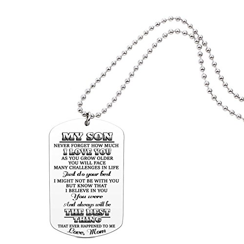 AISHOW Mom To Son and Daughter Dog Tag Never Forget How Much I Love You Inspirational Message Pendant Necklace Birthday Gift for Boys Girls Teen (mom to son)
