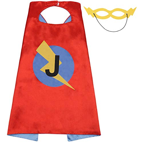 Superhero Capes Kids Initials of Name Birthday Cape for Party Boys Girls J Letter -