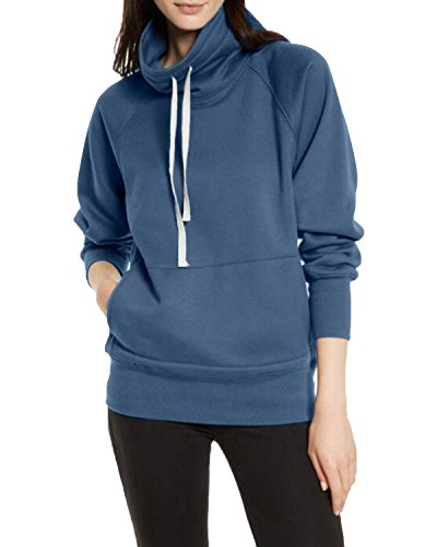 Neck Hooded Sweater Pullover Hoodies Sweatshirt Coat Long Sleeve Blouses Blue US 6-8/ASIAN M (High Neck Sweatshirt)