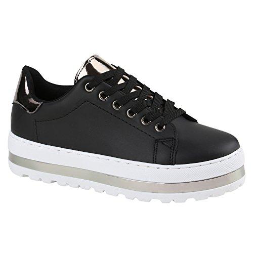 Stiefelparadies - Zapatillas Mujer negro/plateado