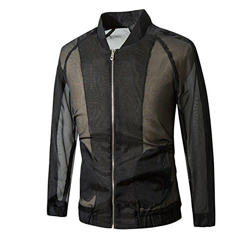 ESAILQ Los nuevos hombres del otoño adelgazan la chaqueta larga transpirable de las mangas Outwear la capa negro