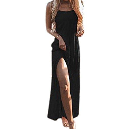 Mujer de 2018 Vestido Noche Hombro Falda Vestido Larga Vestido Playa Verano Suelto Dress de Tirantes Negro Manga Casual Elegante Maxi Casual Sin Playa rqr0wS