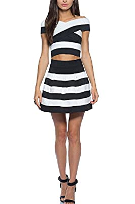Juniors Teens Dressy Mini Two Piece Skirt and Top Set Off The Shoulder Bandage