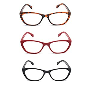 EYE-ZOOM 3 Pairs Cat Eye Style Reading Glasses with Spring Hinge Comfort Fit for Women Choose Your Magnification, Black, Brown Tortoise and Red, +2.50 Strength