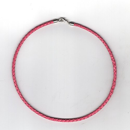 (3mm Pink Braded Leather Cord Necklace with Sterling Silver Clasp and Length Choices (26