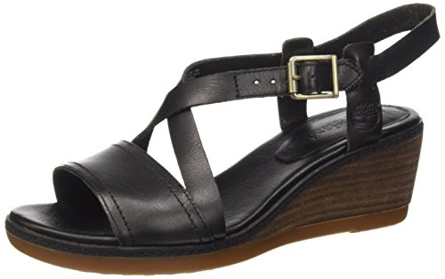 Timberland Wollaston_Wollaston Cross Strap, Sandales à bride et talon compensé femme, Noir, 36: : Chaussures et Sacs