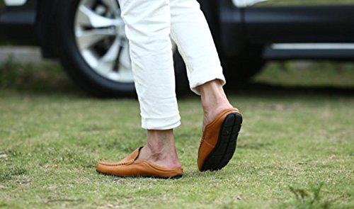 Andare Tour Mens Premium In Vera Pelle Casual Slip On Mocassini Scarpe Da Guida Traspiranti Moda Pantofola A-giallo
