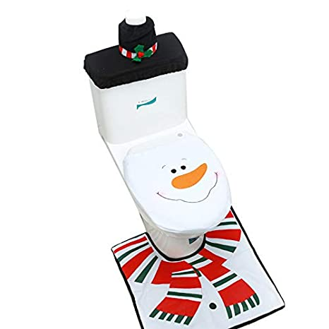 Swell Adorox Christmas Snowman Toilet Seat Cover Set Rug Red Christmas Decorations Bathroom 3 Piece Set Pabps2019 Chair Design Images Pabps2019Com