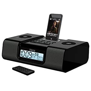 ihome am fm clock radio for ipod black mp3 players accessories. Black Bedroom Furniture Sets. Home Design Ideas