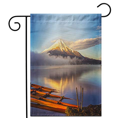 """Awowee 28""""x40"""" Garden Flag Blue Mount Fuji Reflected in Lake Yamanaka at Dawn Outdoor Home Decor Double Sided Yard Flags Banner for Patio Lawn"""
