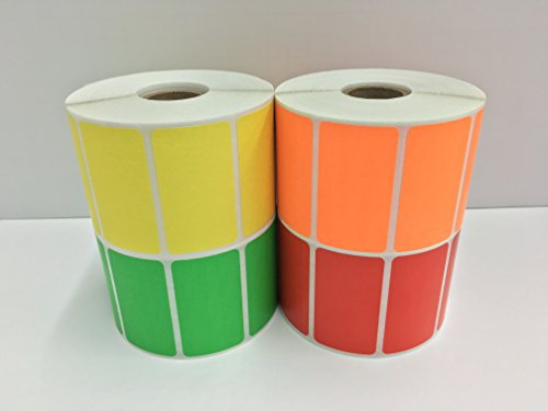 - 4 Rolls of Colored 2.25x1.25 Direct Thermal 1000 Labels P/R (1 Roll Each YL,OR,GR,RD)