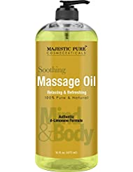 Majestic Pure Relaxing Massage Oil, 16 fl oz – All Natural Message Therapy Formula Using Grapeseed Oil and Potent Massage Essential Oils