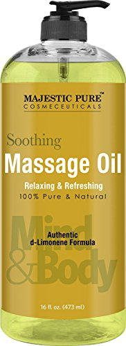 Relaxing Massage Oil from Majestic Pure, 16 fl oz – 100% Natural Message Therapy Formula Using Grapeseed Oil and Potent Massage Essential Oils