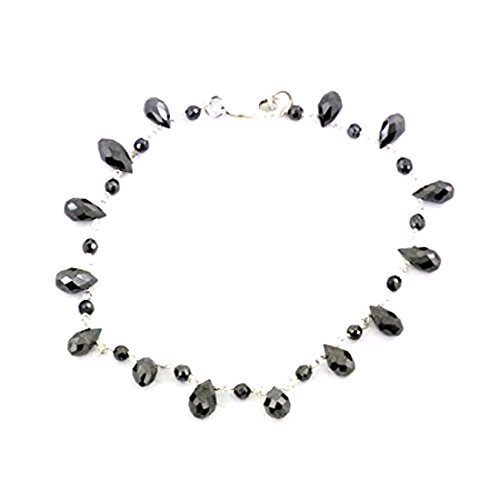 Barishh Black Diamond Bracelet-8 to 9 in.long 5mm Beads.45 TCW.Silver Wire by Barishh