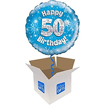 InterBalloon Helium Inflated Happy 50th Birthday Blue Holograpic Balloon Delivered In A Box Amazoncouk Toys Games