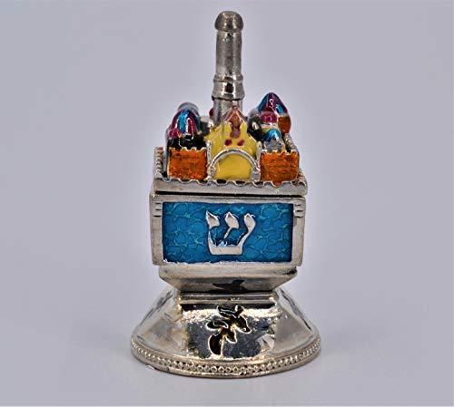 Ciel Collectables Jeweled Dreidel Trinket Box with Jerusalem City Landscape Carved. Hand Made with Swarovski Crystals & Enamel