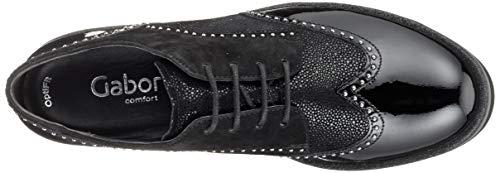 18 Schwarz Zapatos Gabor de Cordones Sport Negro Shoes Mujer Comfort para Glitzer Derby vUwUq7gx