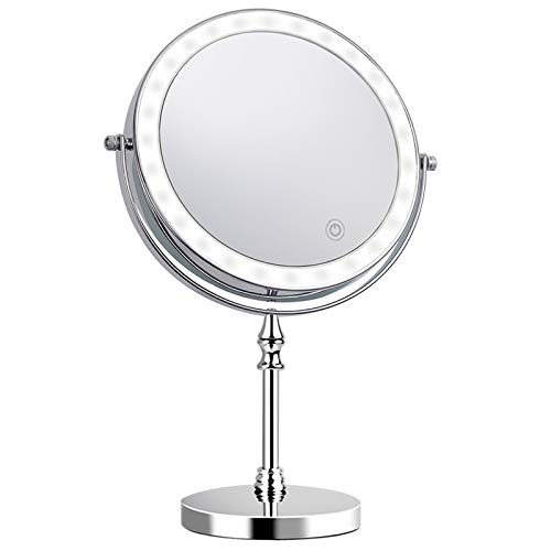 8 Inch Makeup Mirror with Light 1X 10X Magnification Double Sided 360 Degree Rotation LED Vanity Mirror Chrome Finished…